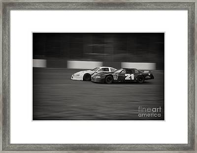 Racing At The Speedway Framed Print