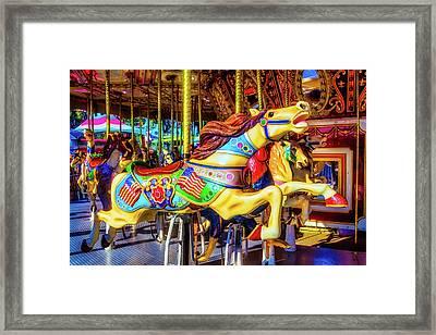 Racing Carrousel Horse Framed Print