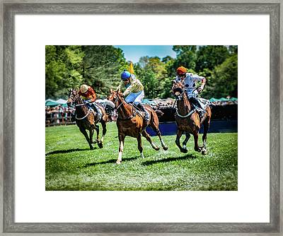 Racing Down The Stretch Framed Print