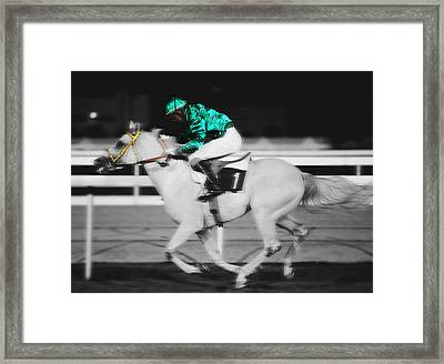Racing For The Post Framed Print
