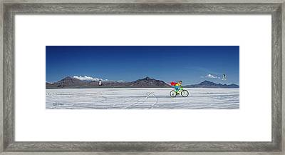 Racing On The Bonneville Salt Flats Framed Print