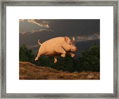 Racing Pig Framed Print by Daniel Eskridge