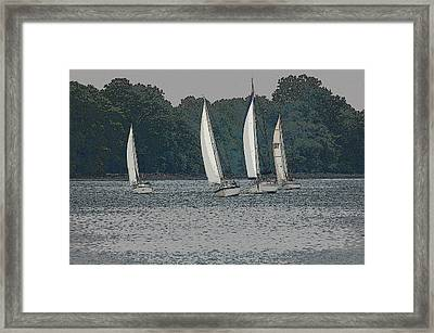 Racing Framed Print by Rebecca Fitzgerald