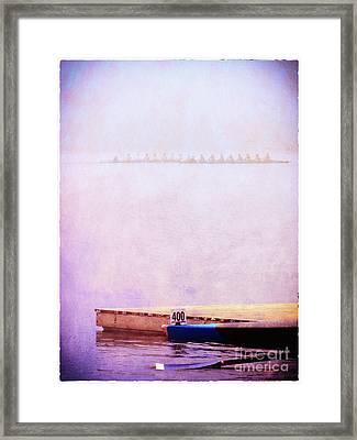 Racing Shells In The Fog Framed Print by Judi Bagwell