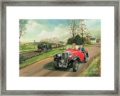 Racing The Train Framed Print by Richard Wheatland