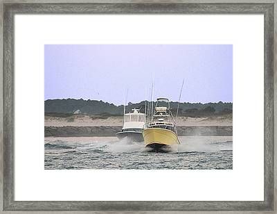 Framed Print featuring the photograph Racing Thru The Inlet by Robert Banach