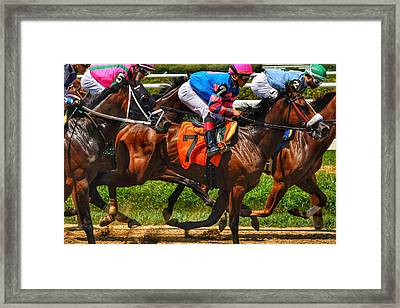 Racing Tight Framed Print