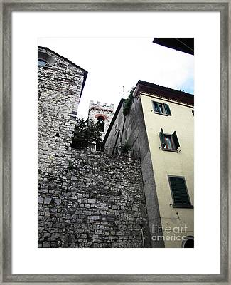 Radda Bell Tower Framed Print by Linda Ryan