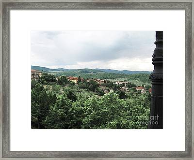 Radda Landscape From Balcony Framed Print by Linda Ryan