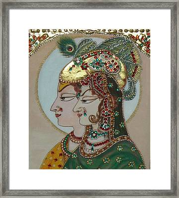 Radha Krisan Mughal Style Framed Print