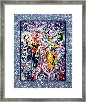 Radha Krishna - Cosmic Dance Framed Print by Harsh Malik