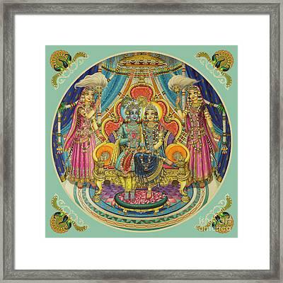 Radha Krishna In Ashtasakhi Mandir. Part Of The Original Painting Framed Print