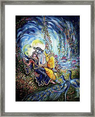 Radha Krishna Jhoola Leela Framed Print by Harsh Malik