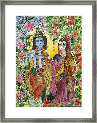 Radha Krishna  Framed Print by Pushpa Sharma