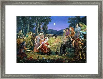 Radha Lamenting With The Gopis Framed Print by Dominique Amendola