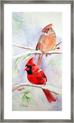 Radiance Of Cardinals Framed Print