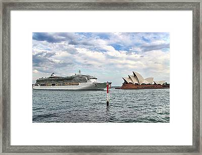 Radiance Of The Seas Passing Opera House Framed Print by Kaye Menner