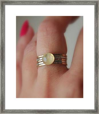 Radiating Moonstone Cabochon Sterling Silver And 14k Gold Filled Artisan Crafted Stackable Rings Framed Print by Nadina Giurgiu