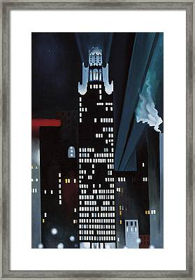 Radiator Building Night  New York Framed Print by Georgia O Keeffe