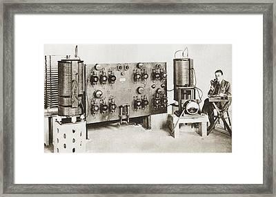 Radio Announcer Transmitting A News Framed Print