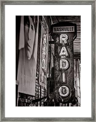 Radio Nashville - Monochrome Framed Print
