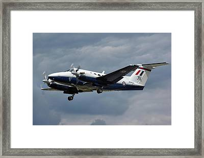 Framed Print featuring the photograph Raf Beech King Air 200  by Tim Beach