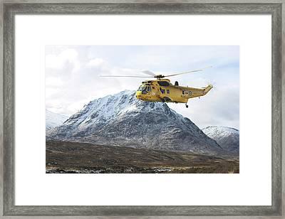 Framed Print featuring the digital art Raf Sea King - Sar by Pat Speirs