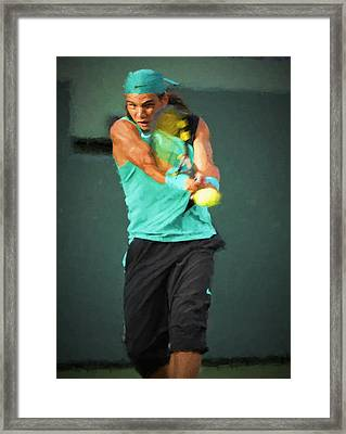 Framed Print featuring the painting Rafael Nadal by Lou Novick