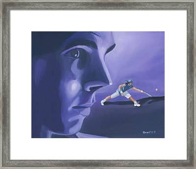 Framed Print featuring the painting Rafael Nadal by Quwatha Valentine