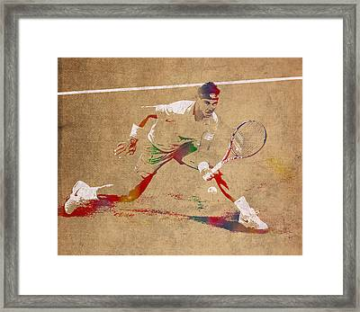 Rafael Nadal Tennis Star Watercolor Portrait On Worn Canvas Framed Print by Design Turnpike