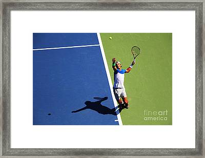 Rafeal Nadal Tennis Serve Framed Print by Nishanth Gopinathan