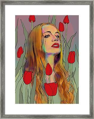 Raffaela In Tulips Framed Print