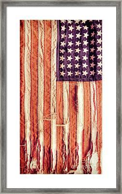 Ragged American Flag Framed Print by Jill Battaglia