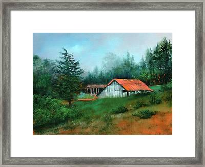 Ragged Point Barn Framed Print by Sally Seago