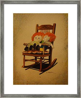 Raggedy Ann And Raggedy Andy Take A Break Framed Print by Charles Roy Smith
