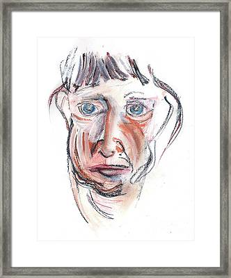 Framed Print featuring the drawing Raggedy Selfie by Carolyn Weltman