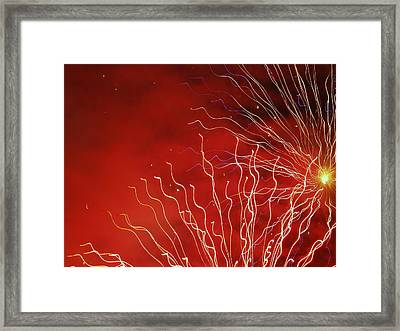 Raging Fire In The Sky Framed Print by Michael Canning