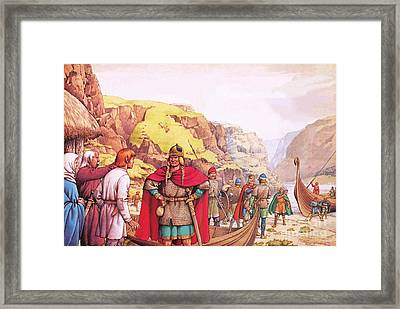 Ragnor Lodbrok, One Of The First Vikings To Raid Britain Framed Print by Pat Nicolle