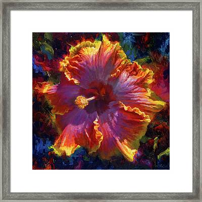 Rainbow Hibiscus Tropical Flower Wall Art Botanical Oil Painting Radiance  Framed Print