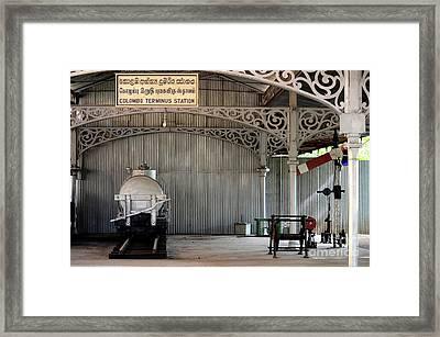 Rail Items Including Wagon And Semaphore Signal Exhibit National Railway Museum Colombo Sri Lanka Framed Print by Imran Ahmed