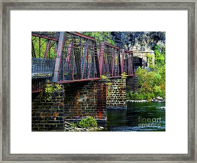 Rail Road Bridge Over The Potomac River At Harpers Ferry, Wv Framed Print