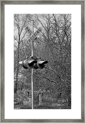 Framed Print featuring the photograph Rail Road Crossing by Juls Adams
