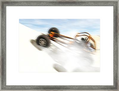 Rail Vehicle In The Dunes Framed Print by Carol and Mike Werner