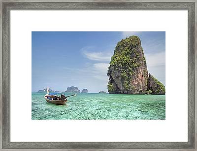 Railay Beach In Krabi Thailand Framed Print by Anek Suwannaphoom