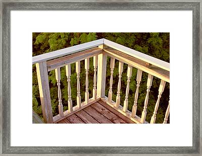 Framed Print featuring the painting Railing Sunset Bar Harbor by Larry Darnell