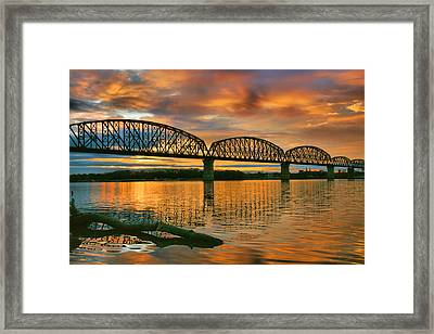 Railroad Bridge At Sunrise Framed Print
