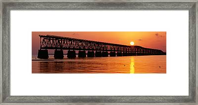 Railroad Bridge At Sunset, Florida Framed Print