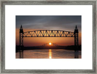 Railroad Bridge Framing The Bourne Bridge During A Sunrise Framed Print