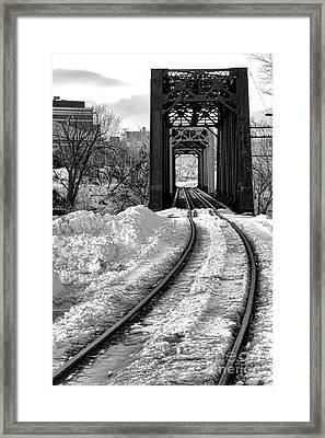 Railroad Bridge In Winter Framed Print