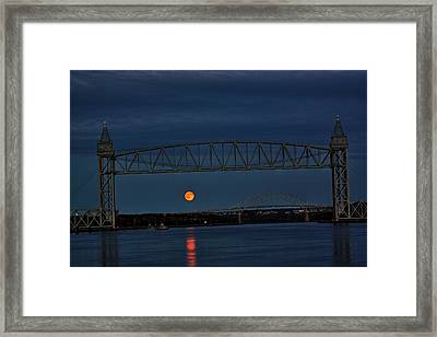 Framed Print featuring the photograph Railroad Bridge Over A Full Moon by Greg DeBeck